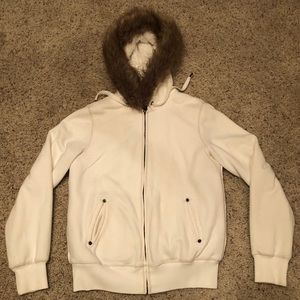 White Fuzzy Fur Lined Jacket